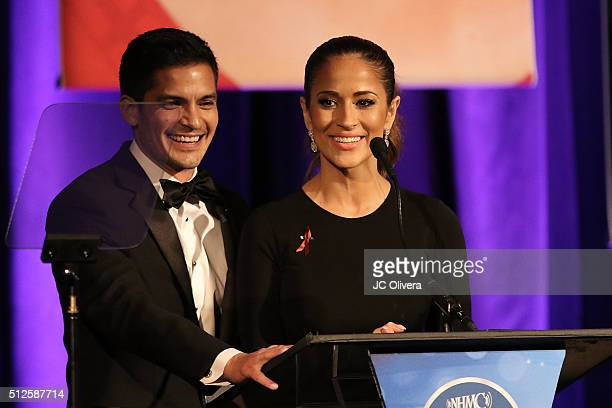 Actor Nick Gonzalez and tv personality Jackie Guerrido onstage during the 19th Annual National Hispanic Media Coalition Impact Awards Gala at Regent...