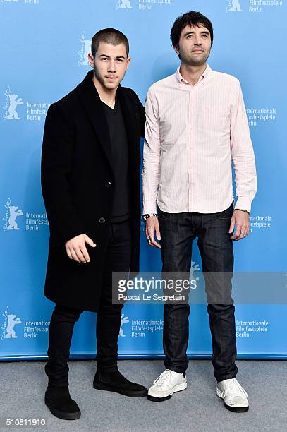 Actor Nick Jonas and Director Andrew Neel attend the 'Goat' photo call during the 66th Berlinale International Film Festival Berlin at Grand Hyatt...