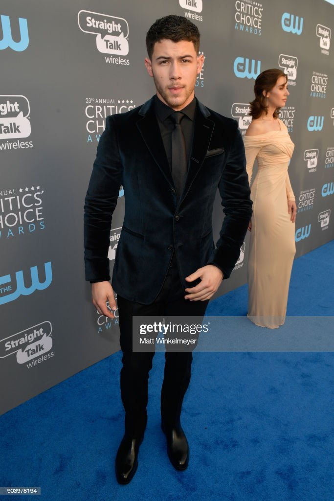 Actor Nick Jonas attends The 23rd Annual Critics' Choice Awards at Barker Hangar on January 11, 2018 in Santa Monica, California.