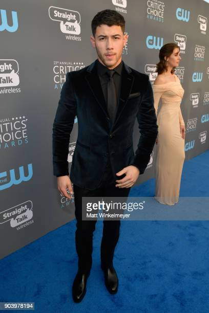 Actor Nick Jonas attends The 23rd Annual Critics' Choice Awards at Barker Hangar on January 11 2018 in Santa Monica California