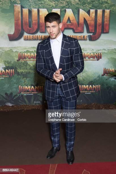 Actor Nick Jonas attends the 'Jumanji' Welcome to the Jungle Jumanji Bienvenue dans la jungle' Paris Premiere at Le Grand Rex on December 5 2017 in...
