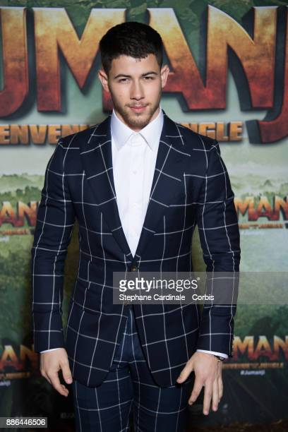 Actor Nick Jonas attends the 'Jumanji' Welcome to the Jungle Jumanji Bienvenue dans la jungle' Paris Premiere at Le Grand Rex on December 5 2017 in...