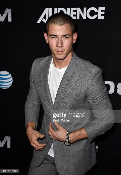 Actor Nick Jonas attends the premiere of DIRECTV's Kingdom Season 2 at SilverScreen Theater at the Pacific Design Center on October 6 2015 in West...