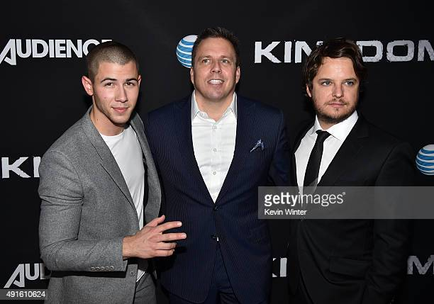 Actor Nick Jonas Chris Long Senior Vice President Original Content and Production ATT and creator/EP Byron Balasco attend the premiere of DIRECTV's...