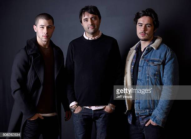 Actor Nick Jonas filmmaker Andrew Neel and actor Ben Schnetzer from the film Goat pose for a portrait during the WireImage Portrait Studio hosted by...
