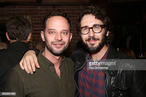 Actor Nick Kroll and singer Josh Groban attend afterparty for OH HELLO Opening Night at Cherry Lane Theatre on December 10 2015 in New York City