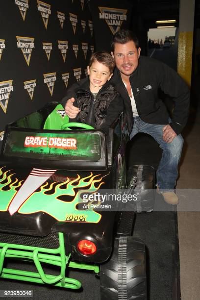 Actor Nick Lachey and son Camden arrive at Monster Jam Celebrity Event at Angel Stadium on February 24 2018 in Anaheim California