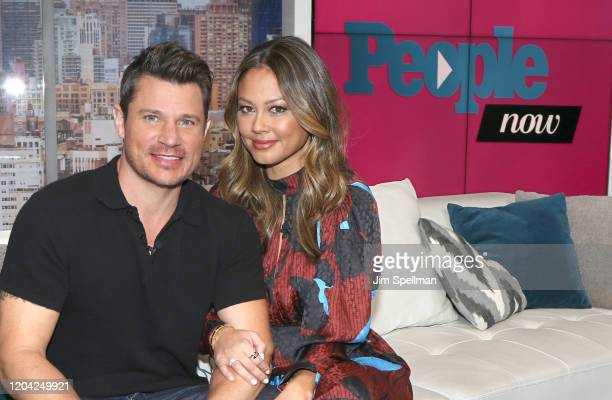 Actor Nick Lachey and TV Personality Vanessa Minnillo visit People Now on February 05, 2020 in New York, United States.