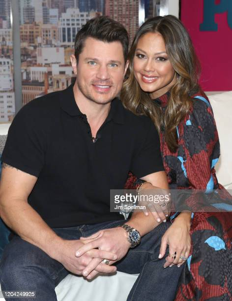 Actor Nick Lachey and TV Personality Vanessa Minnillo visit People Now on February 05 2020 in New York United States