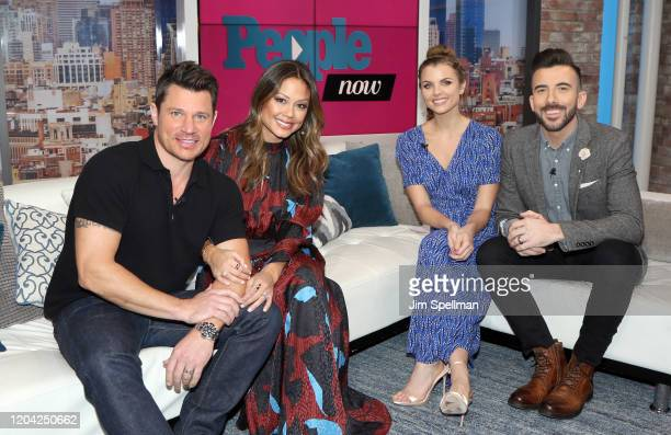 Actor Nick Lachey, TV Personality Vanessa Minnillo, hosts Andrea Boehlke and Jeremy Parsons on the set of People Now on February 05, 2020 in New...