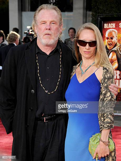 Actor Nick Nolte and Clytie Lane arrive at the Los Angeles Premiere Of Tropic Thunder at the Mann's Village Theater on August 11 2008 in Los Angeles...