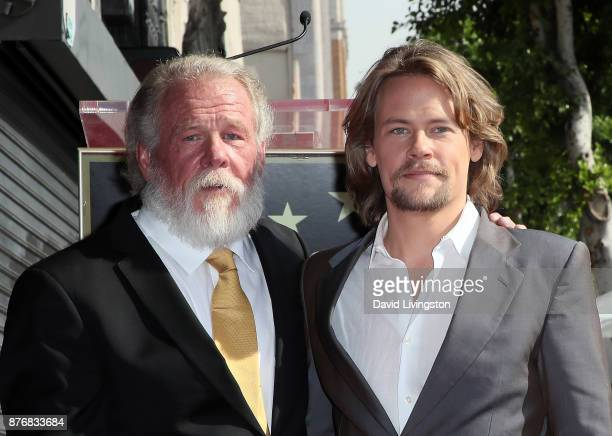 Actor Nick Nolte and son Brawley Nolte attend Nick Nolte being honored with a Star on the Hollywood Walk of Fame on November 20 2017 in Hollywood...