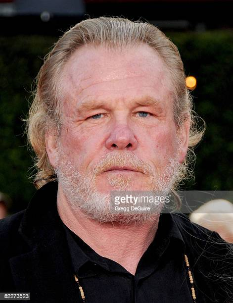 Actor Nick Nolte arrives at the Los Angeles Premiere Of Tropic Thunder at the Mann's Village Theater on August 11 2008 in Los Angeles California