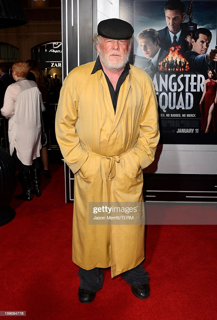 Actor Nick Nolte arrives at Warner Bros. Pictures' 'Gangster Squad' premiere at Grauman's Chinese Theatre on January 7, 2013 in Hollywood, California.
