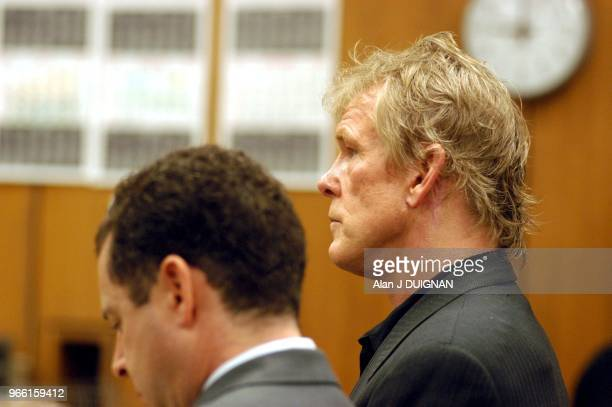 Actor Nick Nolte right and his attorney Mark Worksman listens to Judge Lawrence Mira during a progress report hearing before Judge Lawrence Mira at...