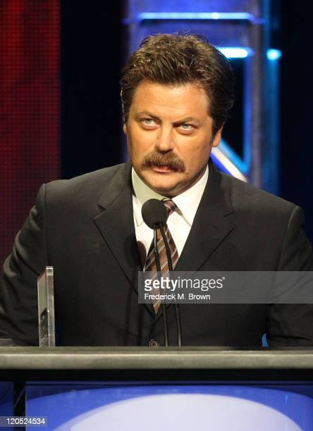 Actor Nick Offerman accepts Individual Achievement in Comedy Award for Parks and Recreation onstage during the 27th Annual Television Critics...