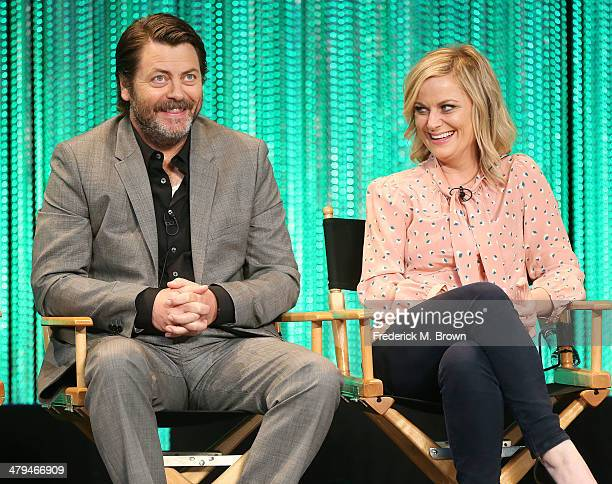 Actor Nick Offerman and actress Amy Poehler speak during The Paley Center for Media's PaleyFest 2014 Honoring Parks and Recreation at the Dolby...