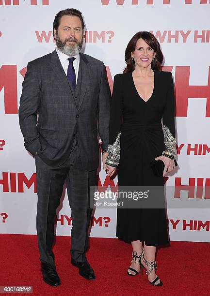 Actor Nick Offerman and actress Megan Mullally arrive at the Los Angeles Premiere Why Him at Regency Bruin Theater on December 17 2016 in Westwood...