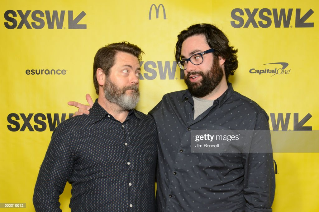 Actor Nick Offerman and director Brett Haley walk the red carpet during the SxSW Film Premier of The Hero at the ZACH Theater on March 10, 2017 in Austin, Texas.