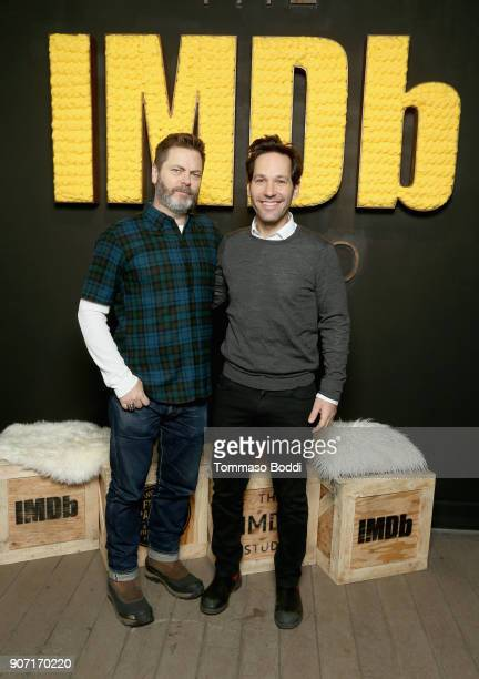 Actor Nick Offerman from 'Hearts Beat Loud' and actor Paul Rudd from 'The Catcher Was A Spy' attend The IMDb Studio at The Sundance Film Festival on...