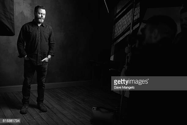 Actor Nick Offerman is seen behind the scenes in the Getty Images SXSW Portrait Studio powered by Samsung on March 12, 2016 in Austin, Texas.