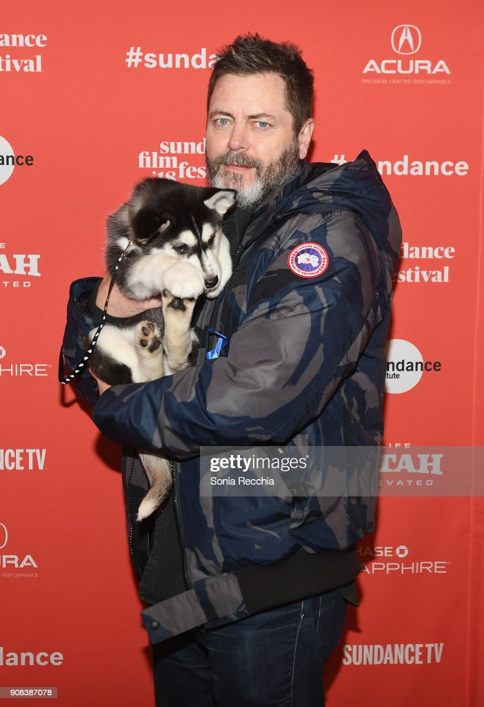 Actor Nick Offerman poses with an artic rescue puppy at the 'White Fang' And 'Hedgehog's Home' Premieres during the 2018 Sundance Film Festival at Prospector Square Theatre on January 21, 2018 in Park City, Utah.