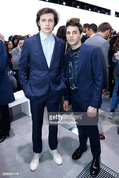 Actor Nick Robinson and Actor and Director Xavier Dolan attend the Louis Vuitton Menswear Fall/Winter 20162017 Fashion Show as part of Paris Fashion...