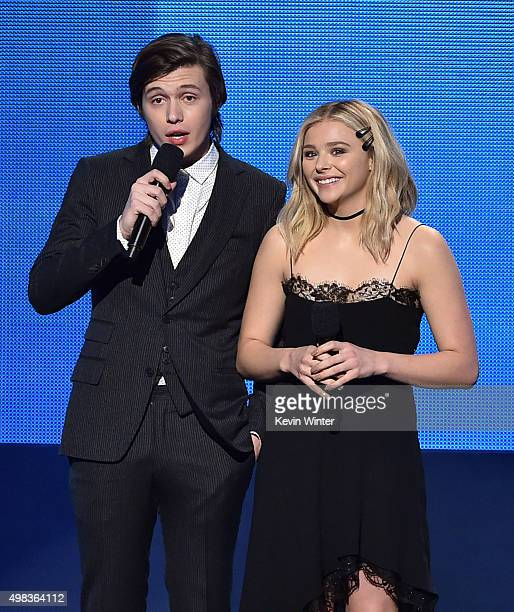 Actor Nick Robinson and actress Chloe Grace Moretz speak onstage during the 2015 American Music Awards at Microsoft Theater on November 22 2015 in...