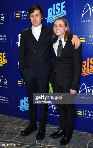 Actor Nick Robinson and his brother Joe Robinson attend the Human Rights Campaign's 13th annual Las Vegas Gala at the Aria Resort Casino on May 12...