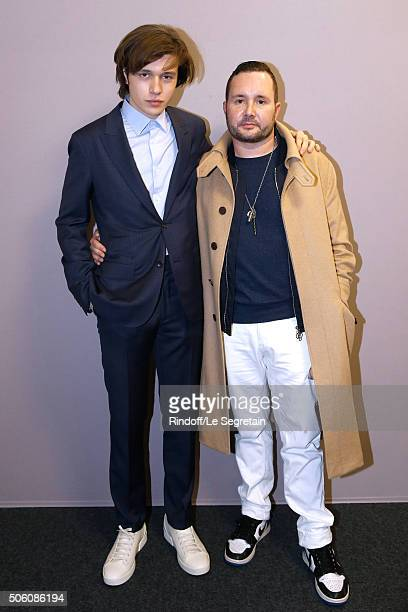 Actor Nick Robinson and Stylist Kim Jones pose Backstage after the Louis Vuitton Menswear Fall/Winter 20162017 Fashion Show as part of Paris Fashion...