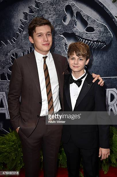 Actor Nick Robinson and Ty Simpkins attend the Universal Pictures' Jurassic World premiere at the Dolby Theatre on June 9 2015 in Hollywood California