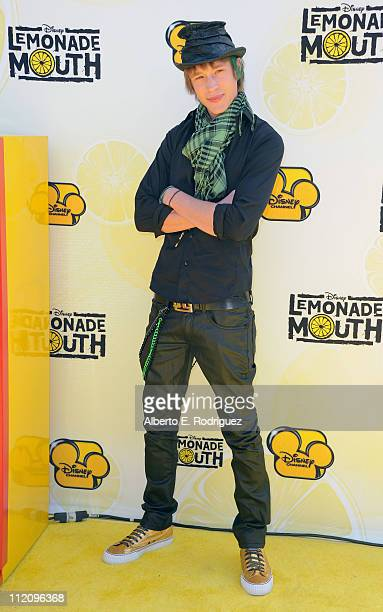 """Actor Nick Roux arrives to the premiere of Disney Channel's """"Lemonade Mouth"""" at Stevenson Middle School on April 12, 2011 in Los Angeles, California."""