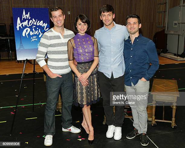 Actor Nick Spangler actress Sara Esty actors Garen Scribner and Etai Benson attend the An American In Paris media day held at the Baryshnikov Arts...