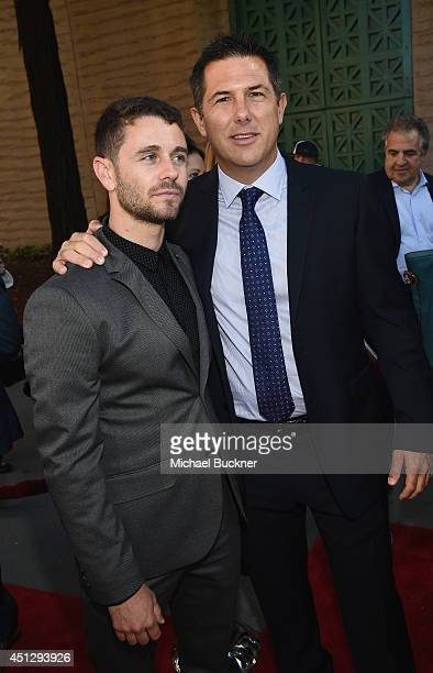 Actor Nick Thurston and producer Dylan Clark arrives at the premiere of 20th Century Fox's Dawn Of The Planet Of The Apes at Palace Of Fine Arts...