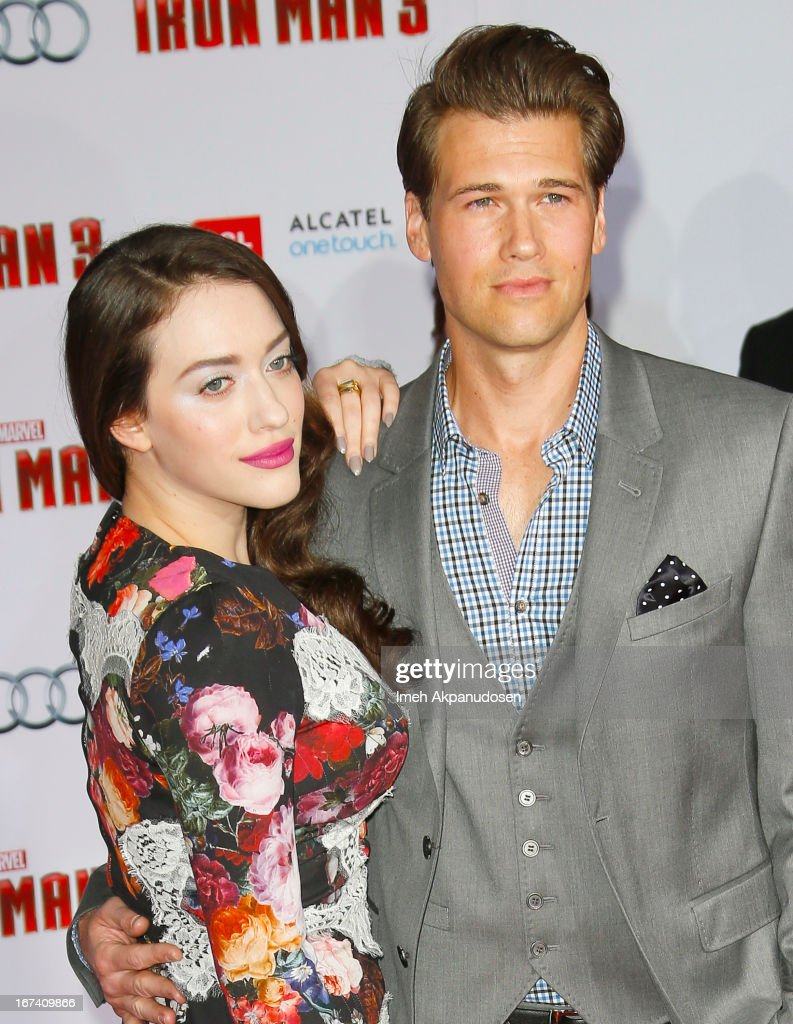Actor Nick Zano (R) and actress Kat Dennings attend the premiere of Walt Disney Pictures' 'Iron Man 3' at the El Capitan Theatre on April 24, 2013 in Hollywood, California.