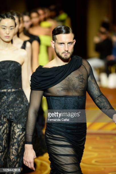 Actor Nico Tortorella walks the runway at Christian Siriano Runway during New York Fashion Week The Shows on September 8 2018 in New York City