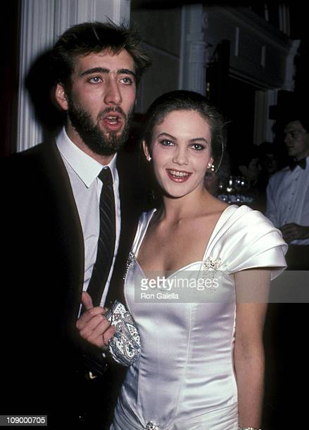 Actor Nicolas Cage and actress Diane Lane attend The Cotton Club New York City Premiere on December 10 1984 at Lowes State Theatre in New York City