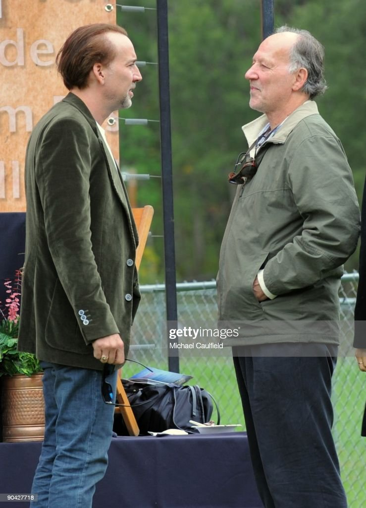 Actor Nicolas Cage and director Werner Herzog atend the Labor Day picnic during the 36th Telluride Film Festival on September 7, 2009 in Telluride, Colorado.