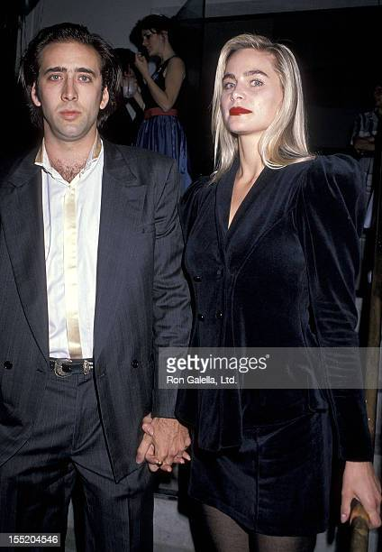 Actor Nicolas Cage and girlfriend Christina Fulton attend Michael Dukakis' Presidential Campaign Fundraiser Party on October 10 1988 at The Pallett...