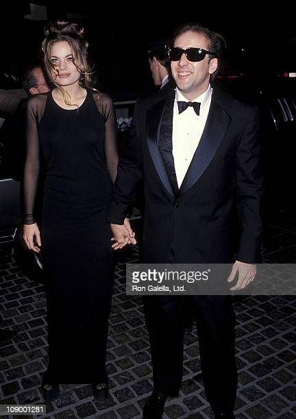 Actor Nicolas Cage and girlfriend Kristen Zang attend the 50th Annual Golden Globe Awards on January 23 1993 at Beverly Hilton Hotel in Beverly Hills...