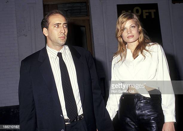 Actor Nicolas Cage and girlfriend Kristen Zang attend the It Could Happen to You Cast Crew Celebrate First Day of Production on July 28 1993 at...