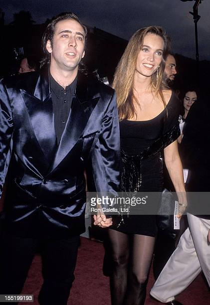Actor Nicolas Cage and girlfriend Lisa Stothard attend the Wild at Heart Century City Premiere on August 13 1990 at Cineplex Odeon Century Plaza...