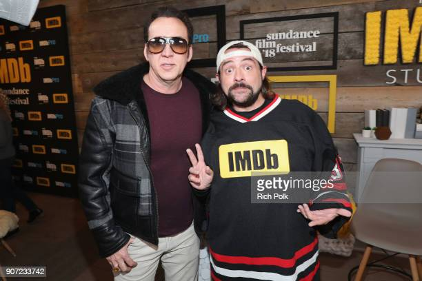 Actor Nicolas Cage and host Kevin Smith attend The IMDb Studio and The IMDb Show on Location at The Sundance Film Festival on January 19 2018 in Park...