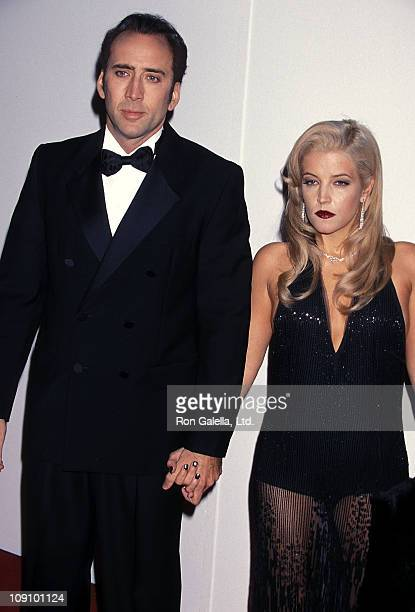 Actor Nicolas Cage and Lisa Marie Presley attend the 16th Annual American Cinematheque Award Salute to Nicolas Cage on October 28 2001 at the Beverly...