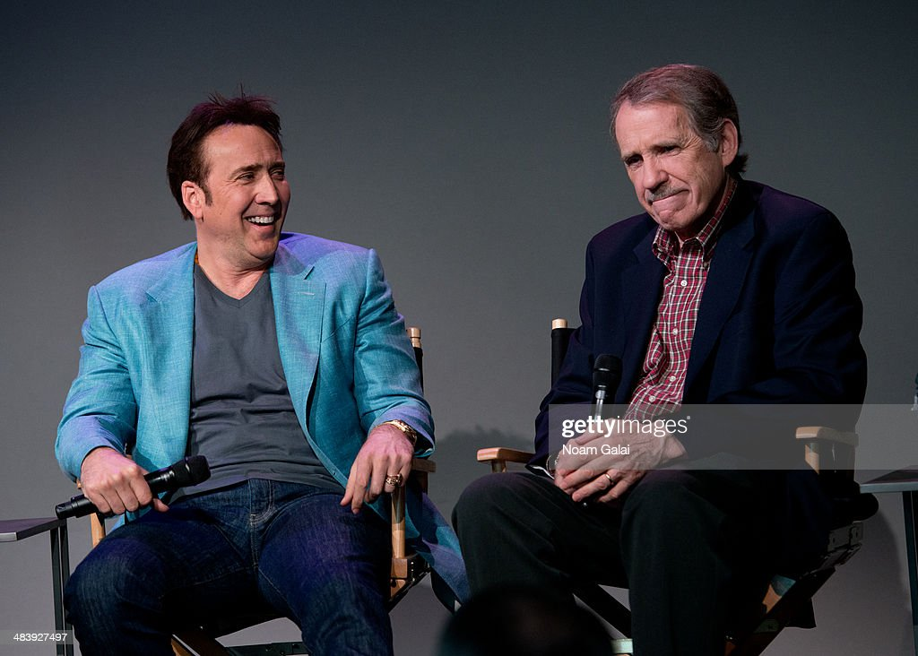 Actor Nicolas Cage and Rolling Stone movie critic Peter Travers attend 'Meet The Filmmakers' at Apple Store Soho on April 10, 2014 in New York City.