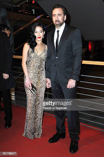 Actor Nicolas Cage and wife Alice Kim attend 'The Croods' Premiere during the 63rd Berlinale International Film Festival at Berlinale Palast on...