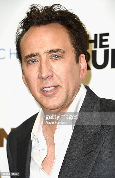 Actor Nicolas Cage arrives at the Paper Street Films' Screening Of The Runner at TCL Chinese 6 Theatres on August 5 2015 in Hollywood California