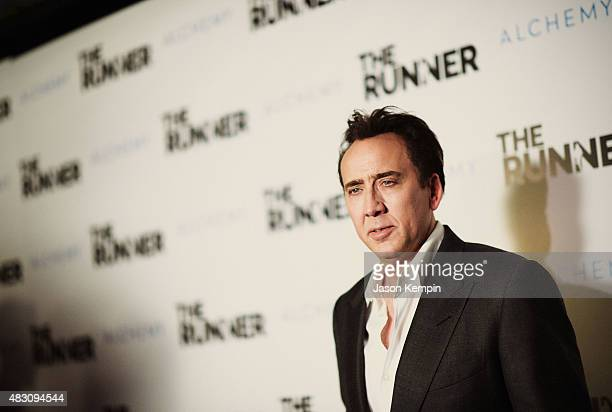 Actor Nicolas Cage attends Paper Street Films' Screening Of The Runner at TCL Chinese 6 Theatres on August 5 2015 in Hollywood California