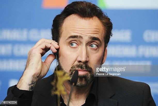 Actor Nicolas Cage attends 'The Croods' Press Conference during the 63rd Berlinale International Film Festival at the Grand Hyatt Hotel on February...