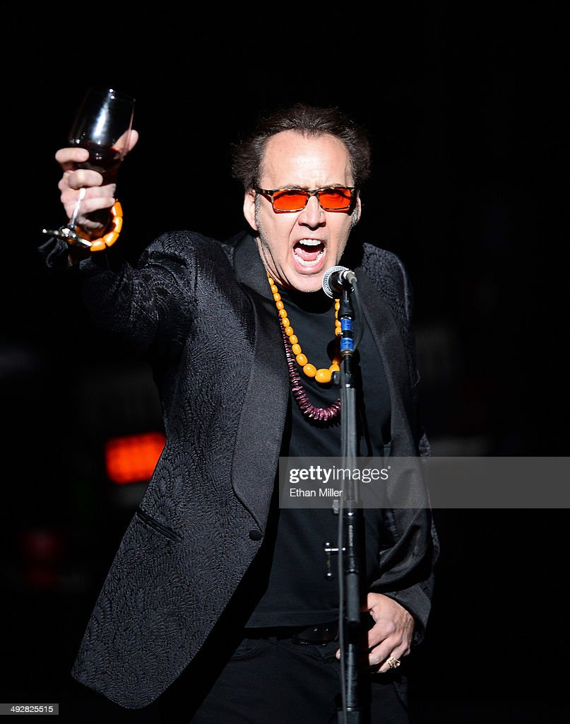 Actor Nicolas Cage introduces Guns N' Roses at The Joint inside the Hard Rock Hotel & Casino during the opening night of the band's second residency, 'Guns N' Roses - An Evening of Destruction. No Trickery!' on May 21, 2014 in Las Vegas, Nevada.